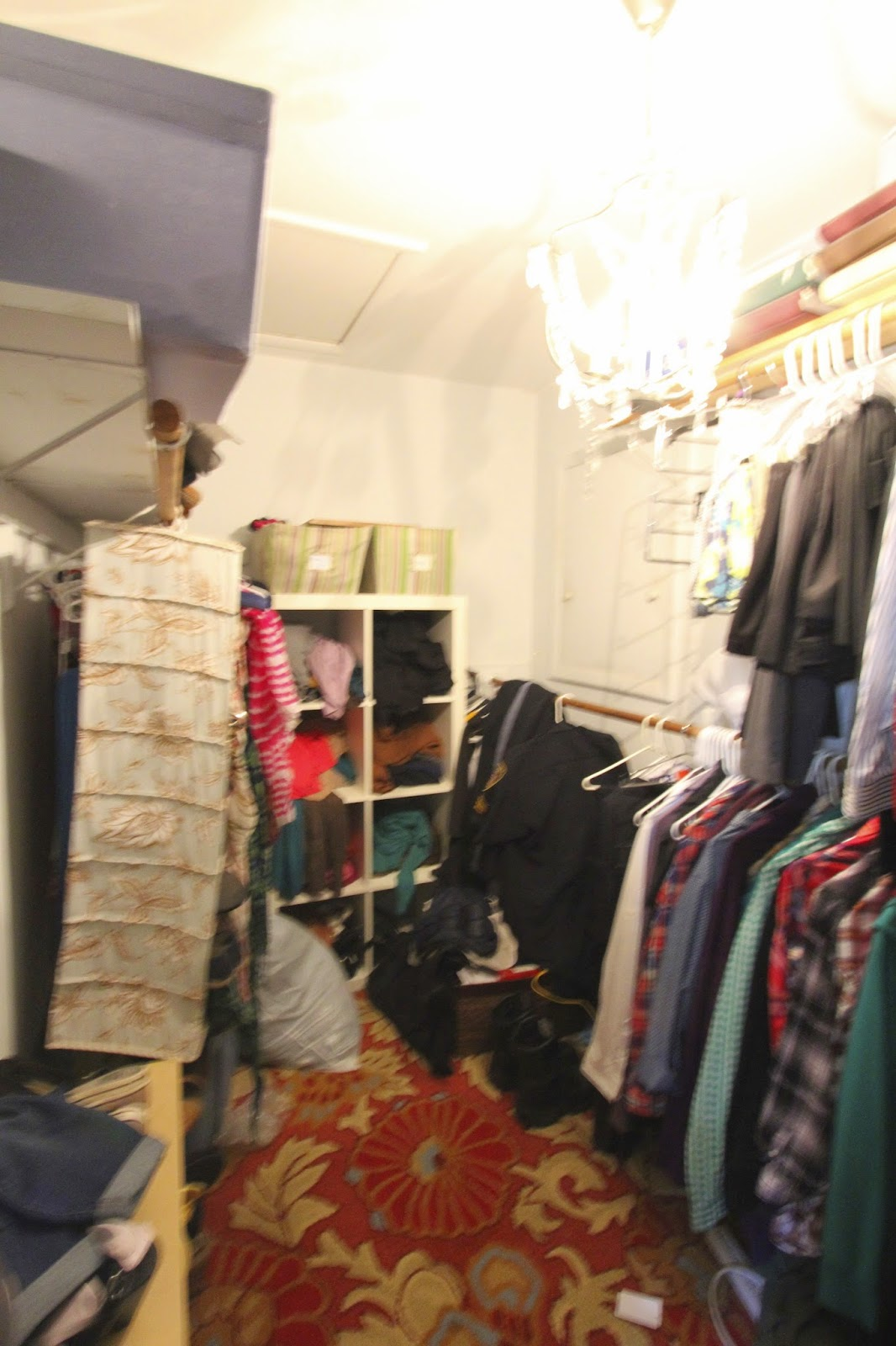 Messy master closet before