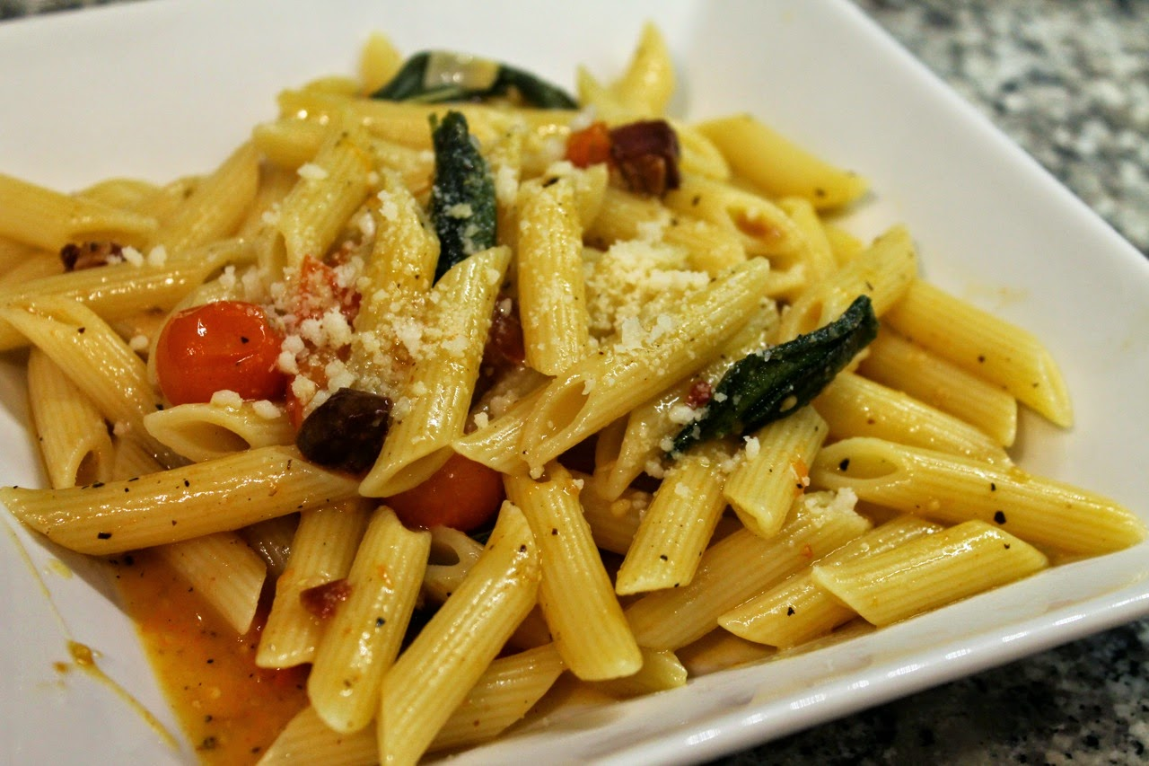 Penne with Roasted Sungold Tomatoes, Pancetta and Fried Sage