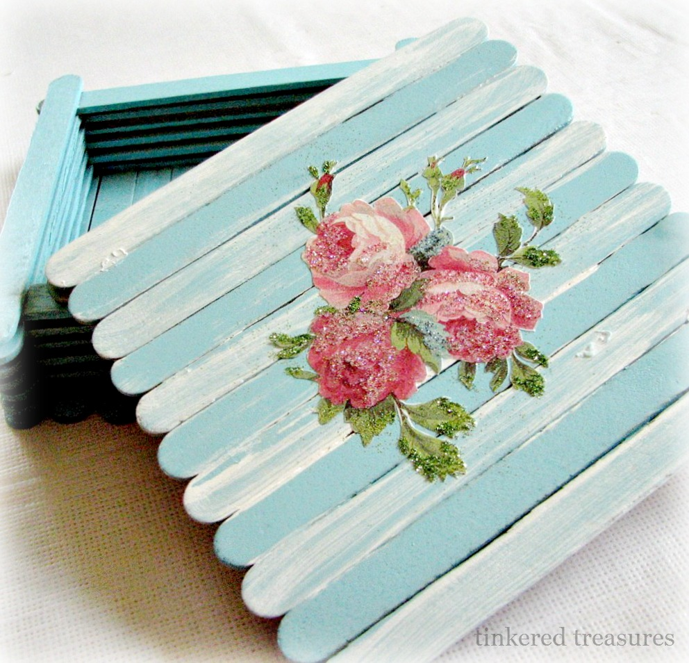 Tinkered treasures of popsicle stick boxes and blogging for How to make popsicle stick crafts