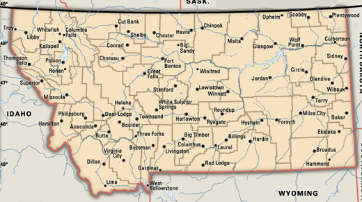 Anaconda Montana Map Montana Map - Montana cities map