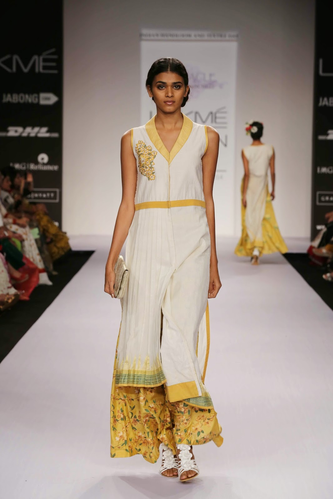 Indian silhouettes were added as kurtas, tunics and saris brought in the oriental flavour on the catwalk.