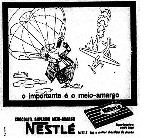 Propaganda dos chocolates Nestlé que mostra a despreocupação do passageiro com um acidente aéreo.