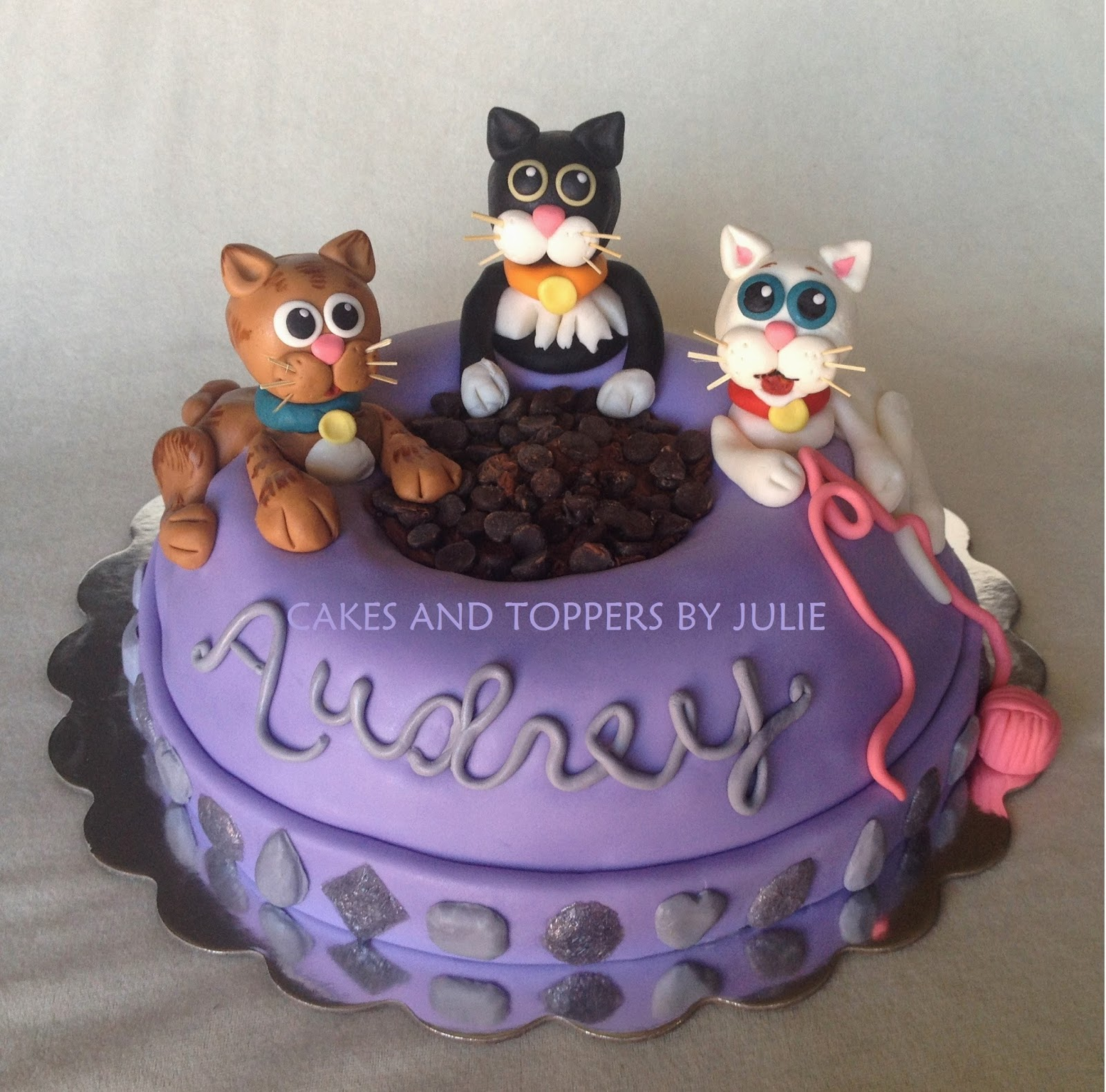 I Recently Had The Joy Of Making My Daughters Birthday Cake She Wanted A Giant Purple Cat Dish With 3 Cats Chocolate Buttercream
