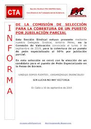 DE LA COMISIÓN DE SELECCIÓN PARA LA COBERTURA DE UN PUESTO POR JUBILACIÓN PARCIAL