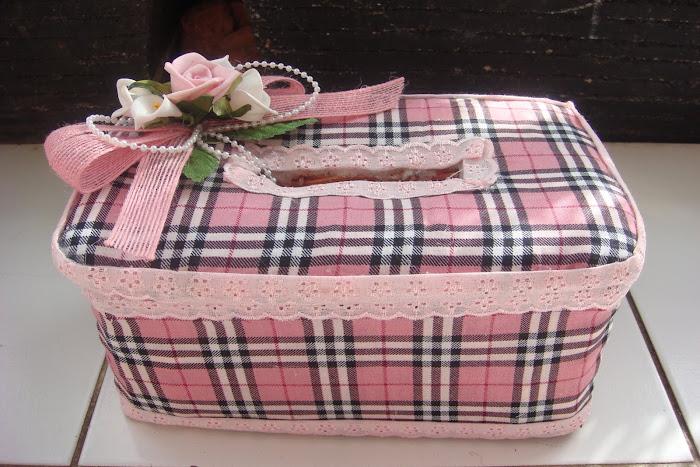 keranjang tisiu pita kain kotak-kotak pink