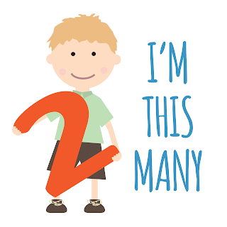 "DIY toddler second birthday t-shirt: ""I'm this many"". Free printable birthday card"