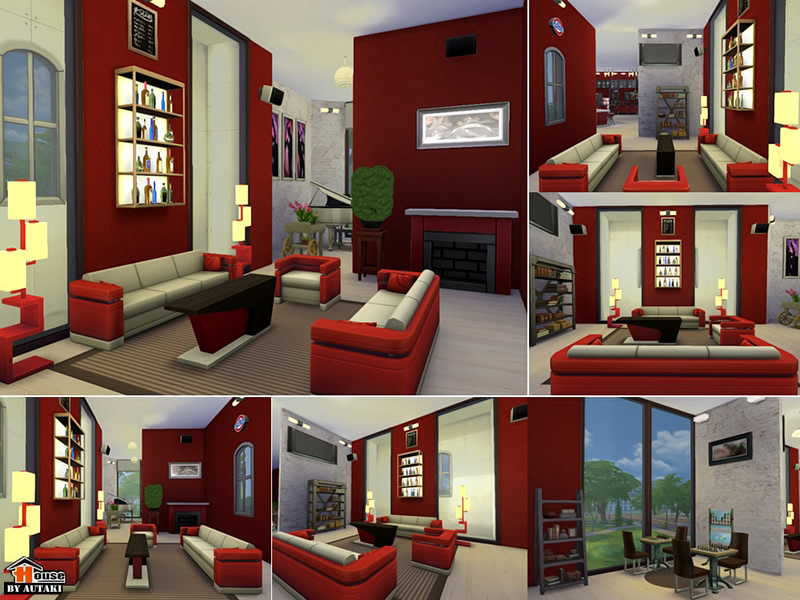 Red white restaurant bar sims houses
