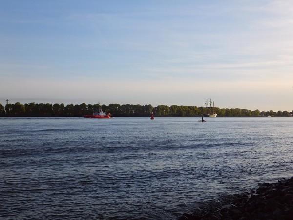 Hambourg Hamburg Elbe Elb övelgönne sunset