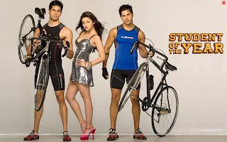 Student Of The Year Sizzling Hot Alia Bhatt, Varun Dhawan, Sidharth Malhotra cycling Wallpaper