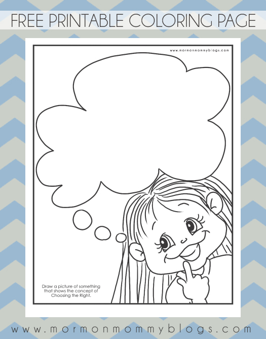 Mormon Mommy Printables: Thinking of Choosing the Right Coloring Page