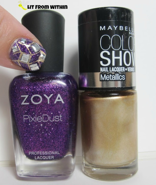 Bottle shot:  Zoya PixieDust in Carter, and my go-to gold stamping polish, Maybelline Bold Gold