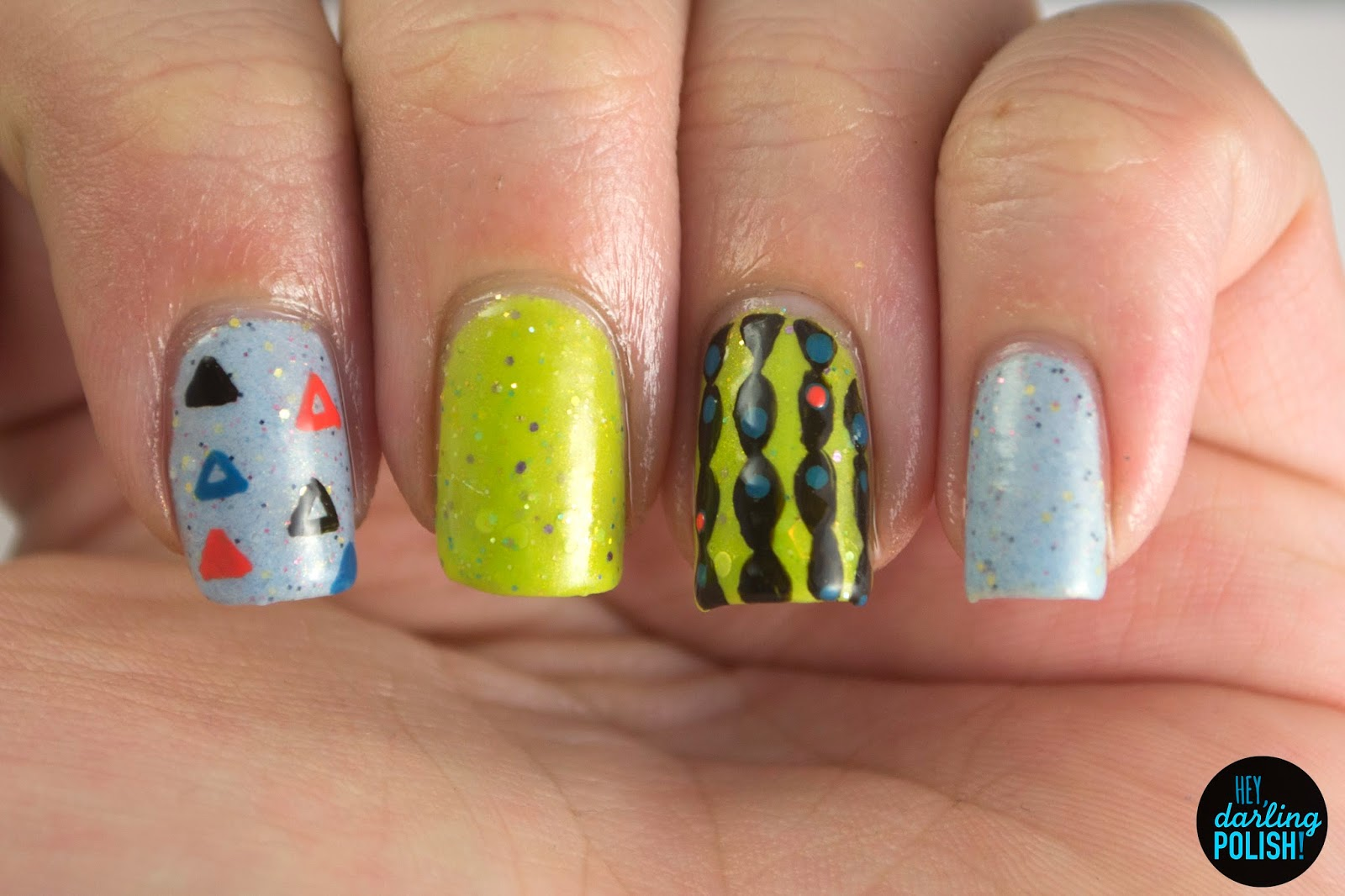 nails, nail art, nail polish, polish, blue, green, skittles, triangles, vintage, retro, indie, indie polish, hey darling polish, the never ending pile challenge, tgpnpc