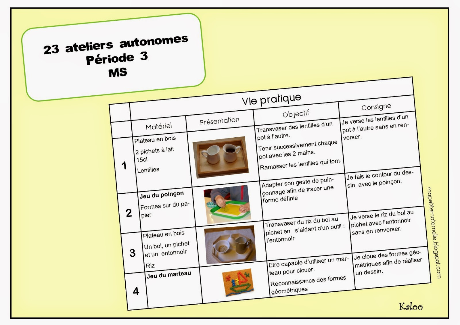 Super Ateliers autonomes type Montessori - période 3 TH52
