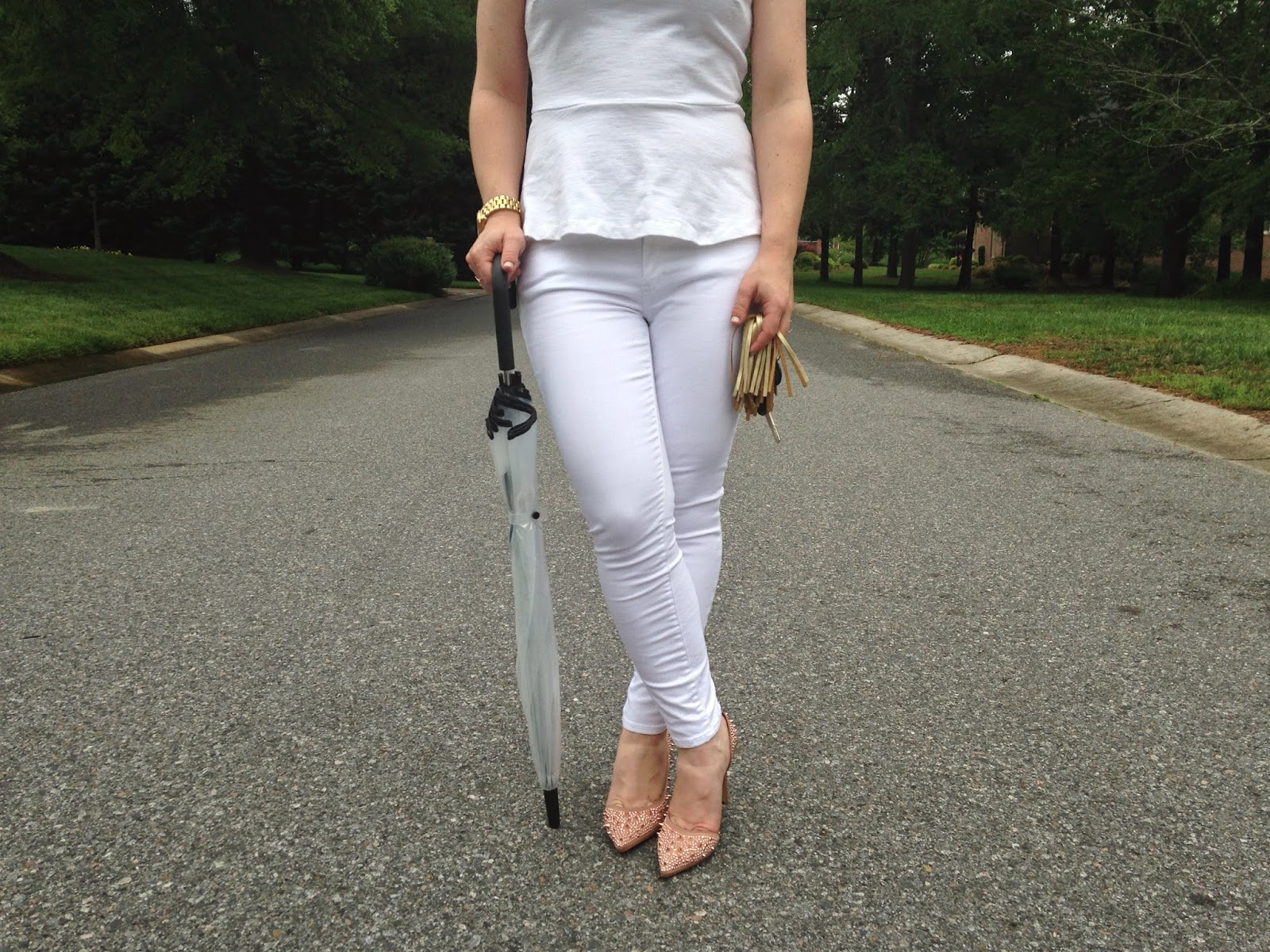 Gap White Jeans, JCrew, Kate Spade, Umbrella, rain day