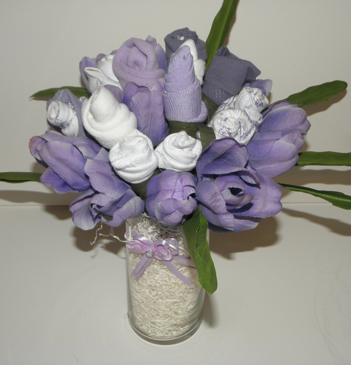 Wee bit trendy handmade faux treats for baby lavendar and white made with onesies and baby socks izmirmasajfo