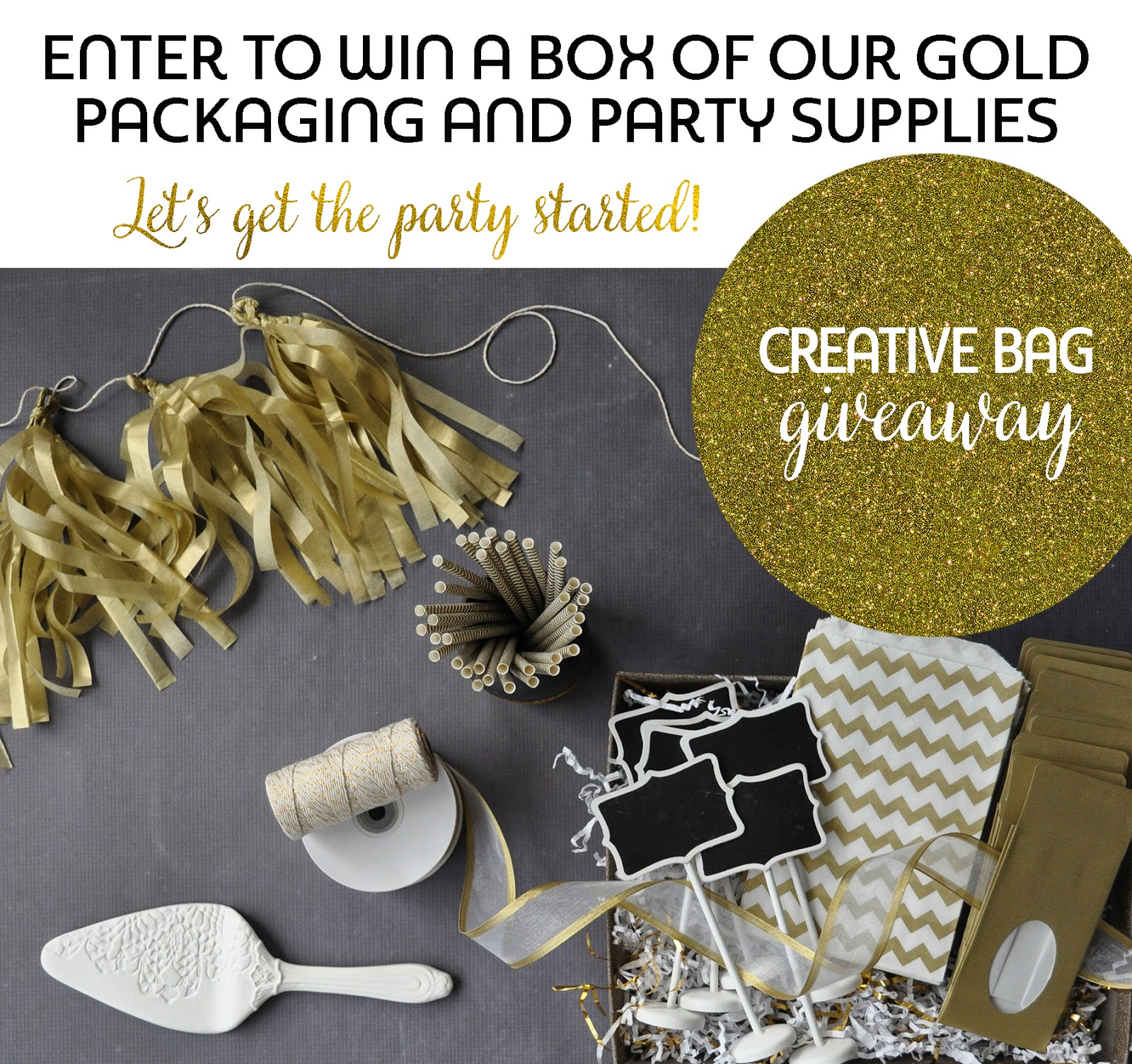 Enter to win a box of gold packaging and party supplies | Creative Bag