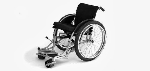 Black and white photo of Whirlwind RoughRider manual wheelchair