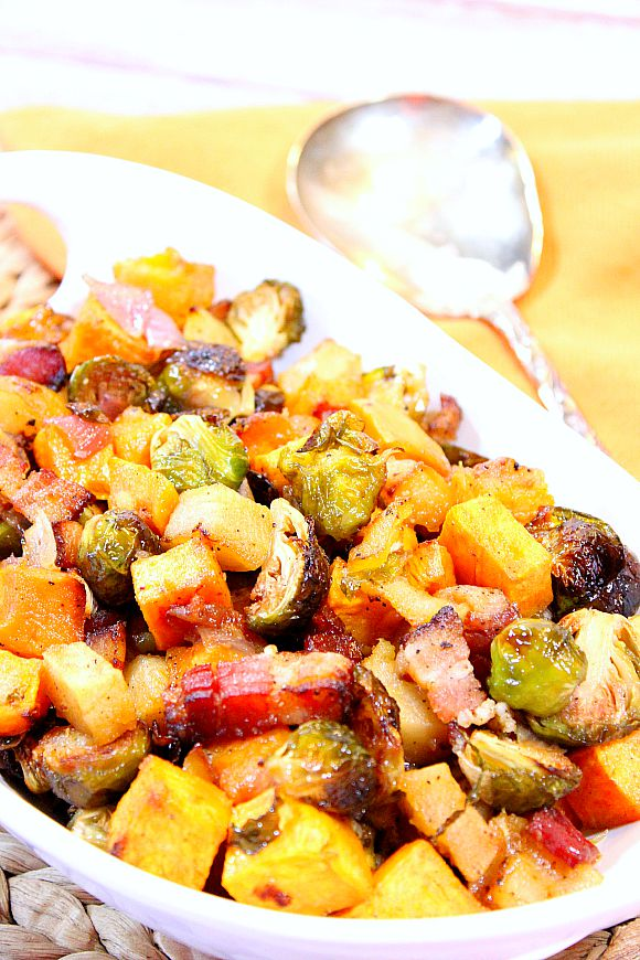 ... Sweet and Savory Roasted Sweet Potatoes, Brussels Sprouts and Apples