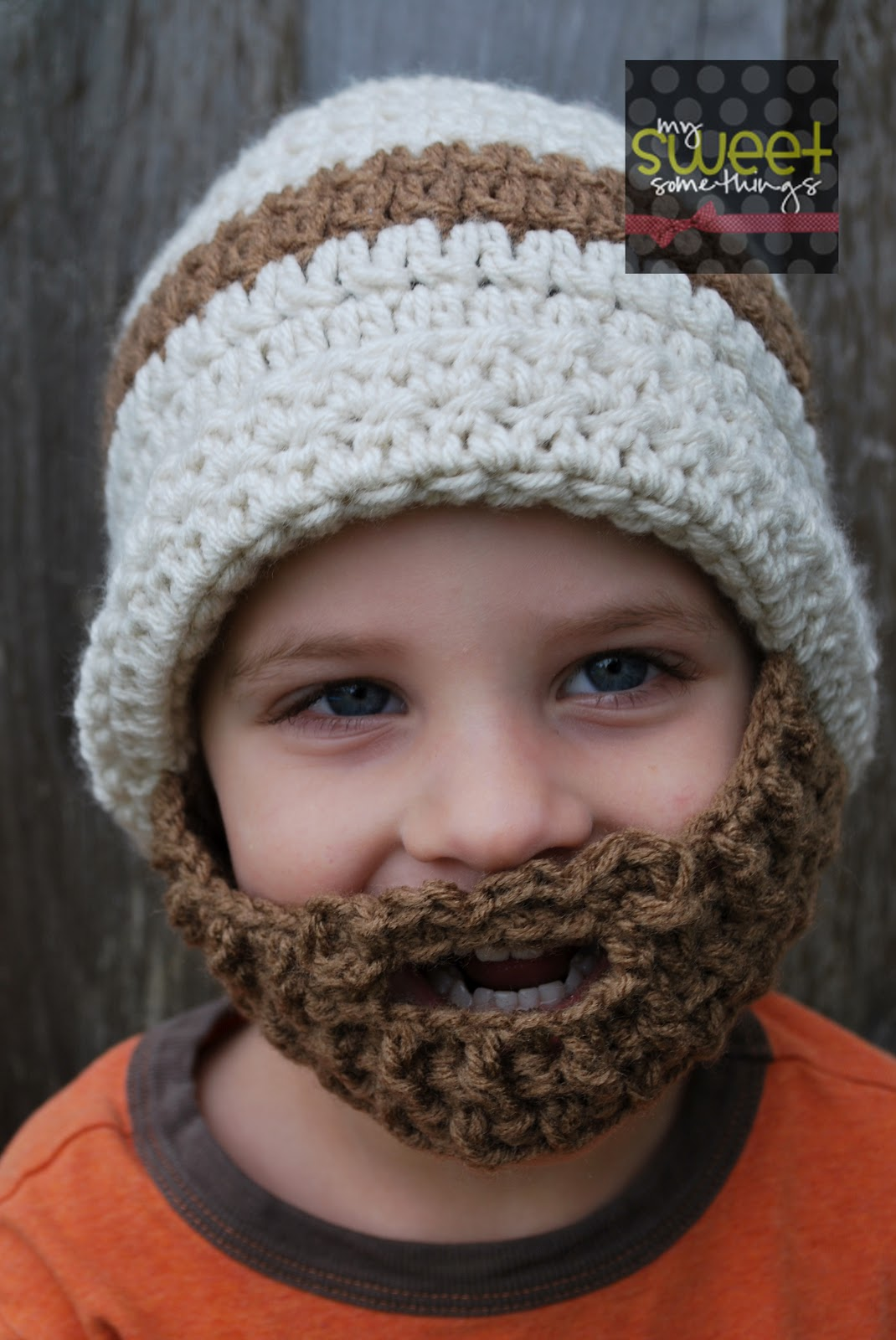 Beanie Hat With Beard Crochet Pattern Free : My Sweet Somethings: Bearded Hat for Kids!