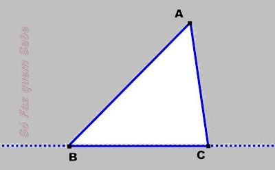Vértice A e reta suporte do lado oposto.