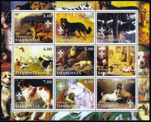 2002年タジキスタン共和国 セント・バーナードなど絵画の中の犬の切手シート