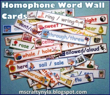 Homophone word wall