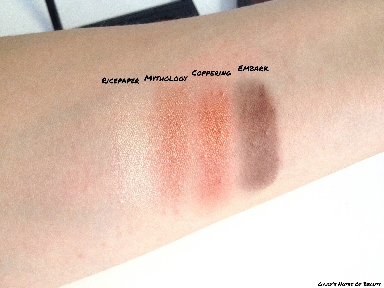 MAC Ricepaper Mythology Coppering Embark Swatches
