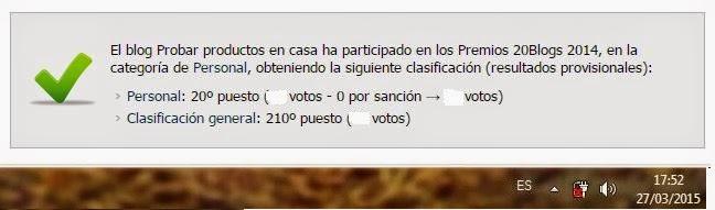 Clasificación 20blogs 2014