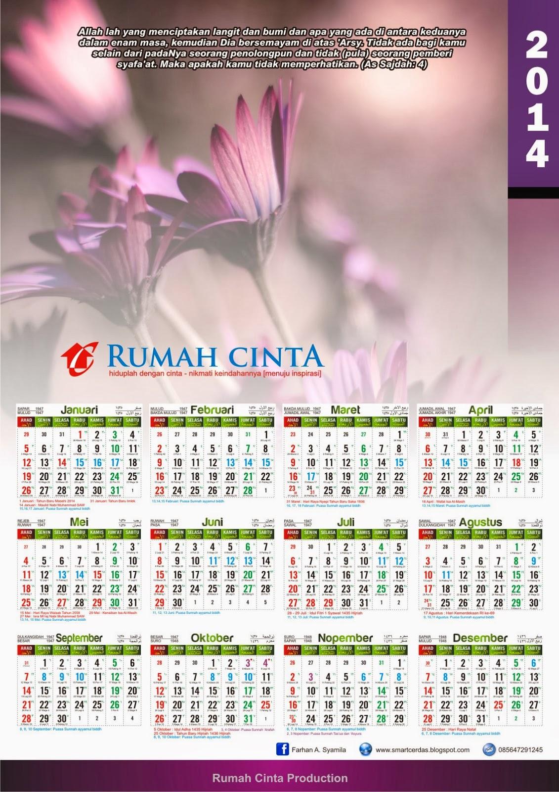 Kalender 2014 Lengkap dengan Hijriyah, kalender jawa dan Puasa Sunnah