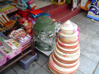 Vietnamese hat for sale in a street market in Vietnam
