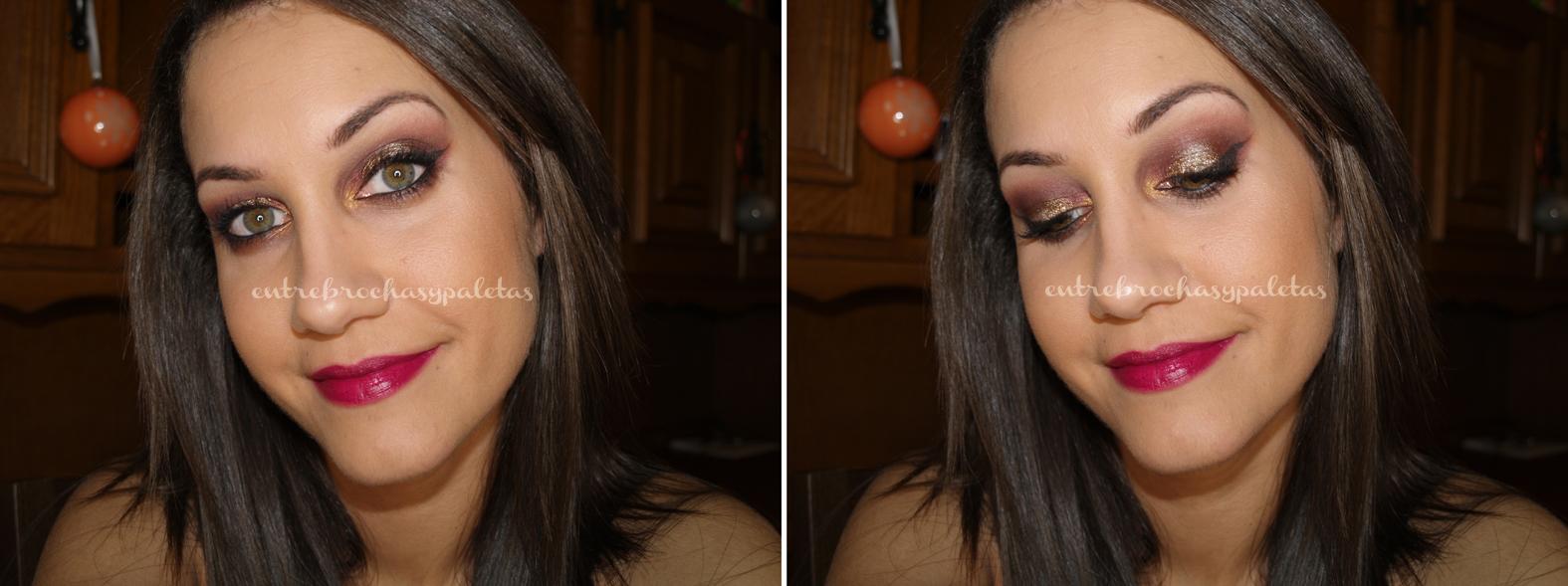 maquillaje borgoña y dorado