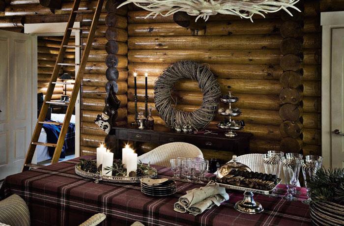 Rustik chateaux decoraci n de una casa rustica en navidad for Casas nordicas decoracion