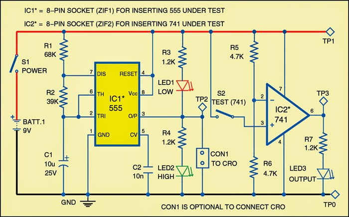 Tester for 555 timer and 741 op amp ics expert circuits for Home 741 741