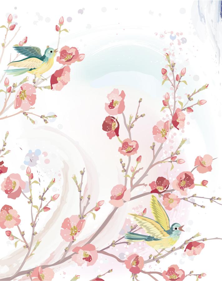 水彩画風の花の枝でさえずる小鳥 flowers and birds background イラスト素材