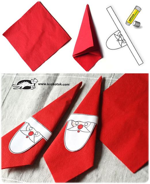 DIY servilletas Santa Claus Navidad