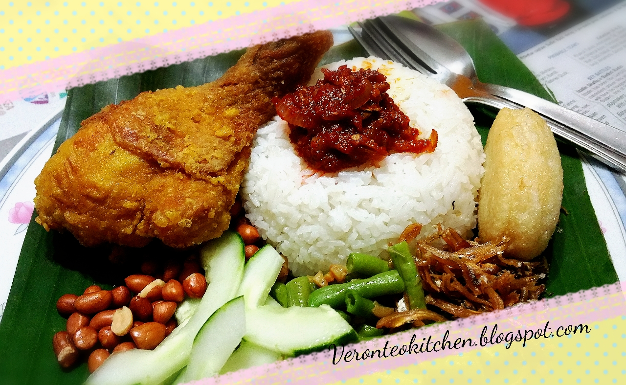 nasi lemak A malaysian dish made up of rice cooked in coconut milk, and served with local  hot sause, and other items.