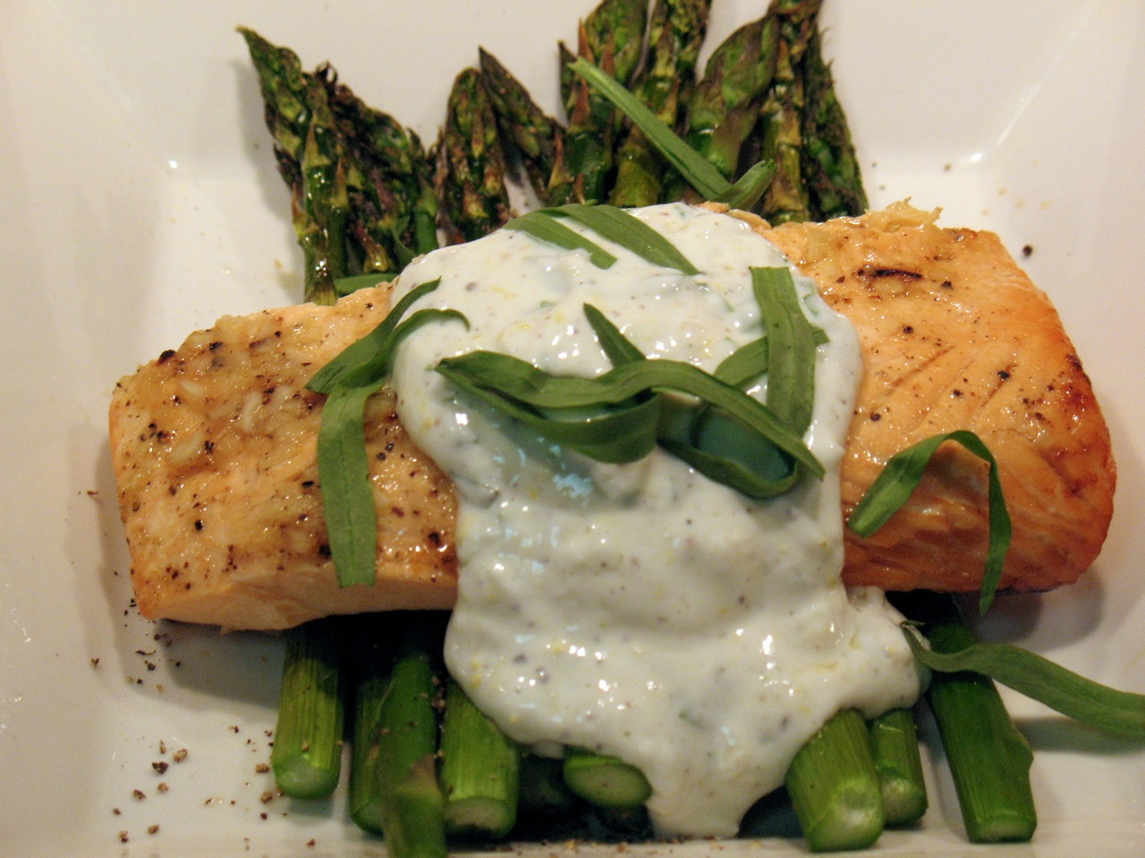 This Is A Tangy Springleaning Sauce To Brighten Up Broiled Salmon With  Asparagus I Recently Discovered The Utility Of Greek Yogurt It Has Great  Texture,