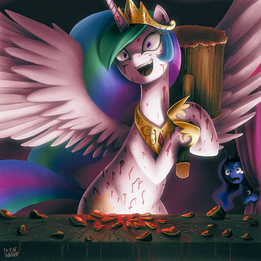 Princess Celestia is known for smashing watermelons as part of an American comedyand prop comic act