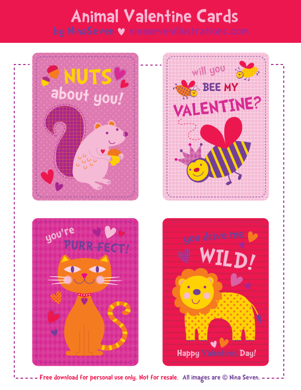 We Love to Illustrate FREE Printable Valentines Day Cards For Kids – Valentines Day Card Kids