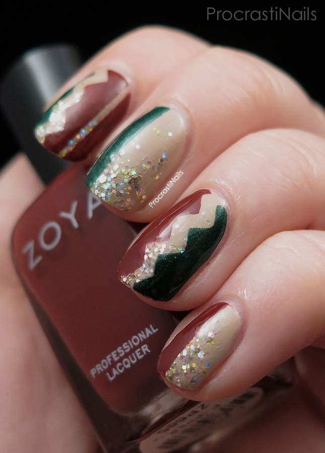 Colour blocking nail art using red and green Zoya over a glitter gradient base.