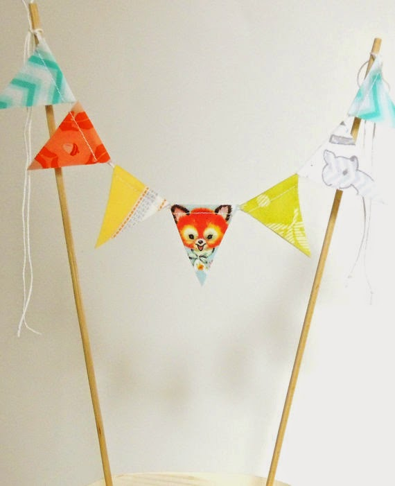 Banner Cake Topper, Fabric Pennant Flags, Birthday Party, Woodland Fox, Deer, Owl Baby Shower Cake Bunting Yellow, Lime, Orange, Grey, Blue