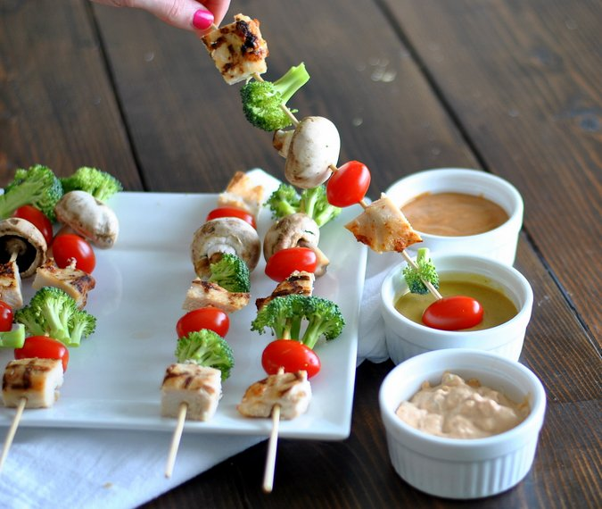 Fresh Veggie and Chicken Kebabs with 3 dipping sauces