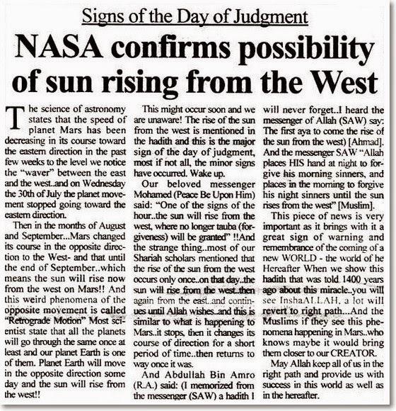 Dunia Akhir Zaman Nasa Sahkan Kemungkinan Matahari Terbit Dari Barat Tahun 2015