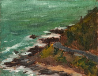 Oil painting of waves breaking against a rocky shoreline with a roadway winding around a gentle cliff.