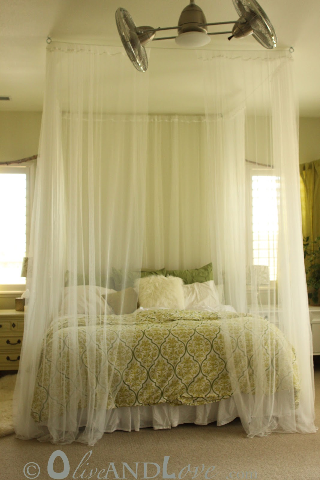 ceiling mounted bed canopy consisting of eyebolts turn buckles and