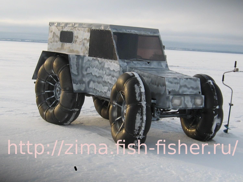 Самодельный пневмоход на зимней рыбалке