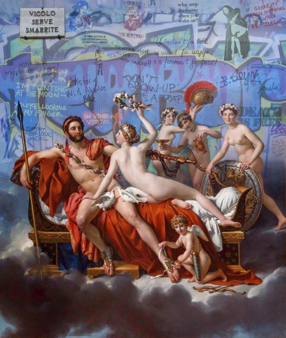 Marco Battaglini pinturas clássicas com elementos contemporâneos pichações nsfw seios nus