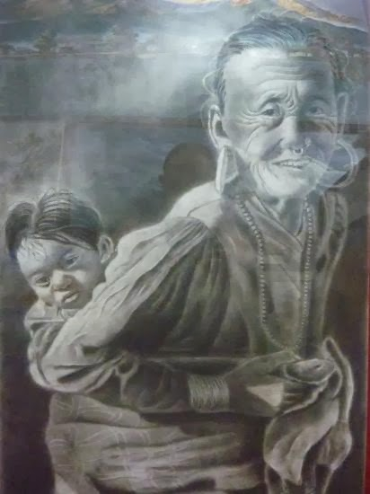 Old nepali women carrying her grand son (charcoal painting)