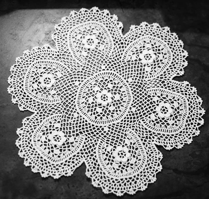 Irish Lace Knitting Pattern : Irish Lace Doily From Umbria, Italy Petals to Picots