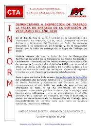 DENUNCIAMOS A INSPECCIÓN DE TRABAJO LA FALTA DE ENTREGA DE LA DOTACIÓN DE VESTUARIO DEL AÑO 2018